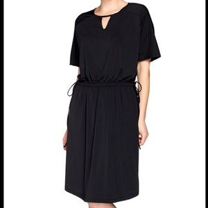 H by Halston Black Mini Drawstring Waist Dress